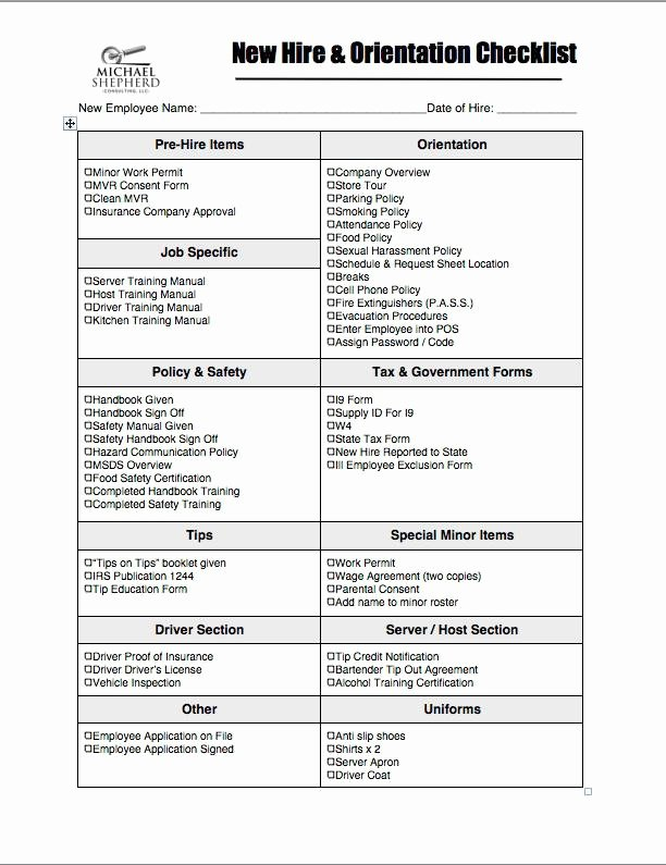 New Hire Checklist Template Excel New 12 New Hire Checklist Template Free Download