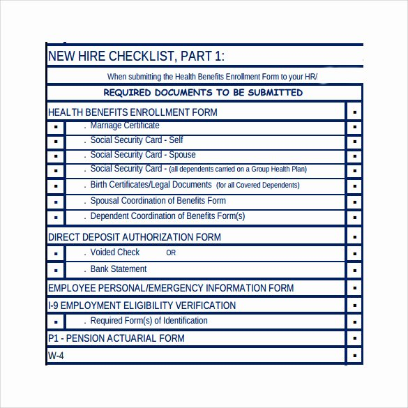 New Hire Checklist Template Inspirational 8 New Hire Checklist Samples
