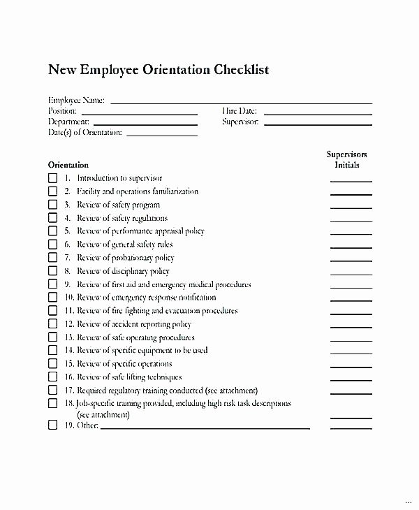 New Hire Checklist Template Lovely New Hire Checklist Template Employee orientation Safety