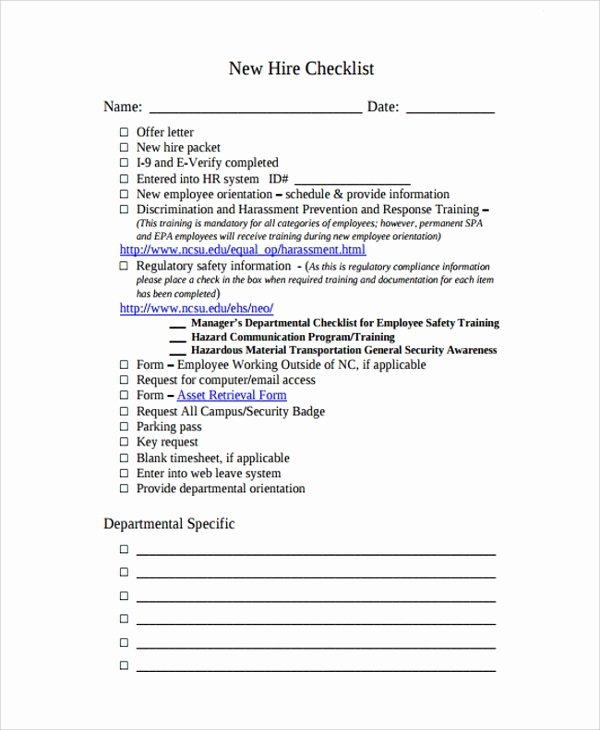 New Hire Checklist Template Luxury 16 New Employee Checklist Templates