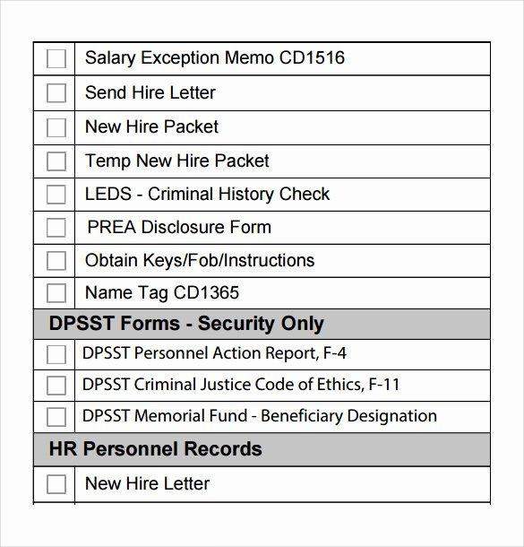 New Hire Checklist Template Luxury 8 New Hire Checklist Samples