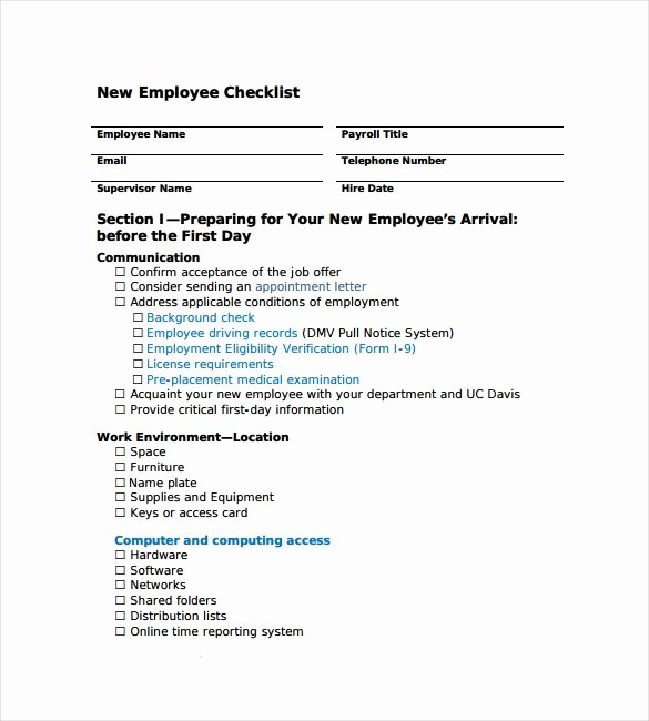 New Hire Checklist Template New 13 New Hire Checklist Samples