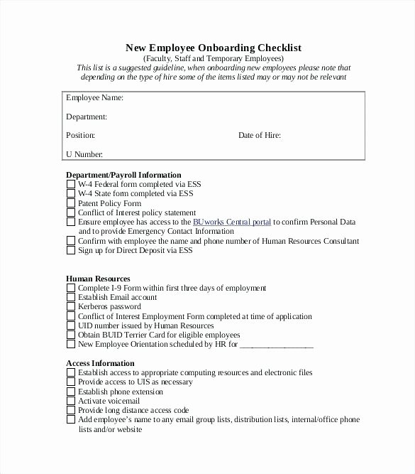 New Hire Checklist Template Word Elegant Staff Training Policy Template – Sharkk