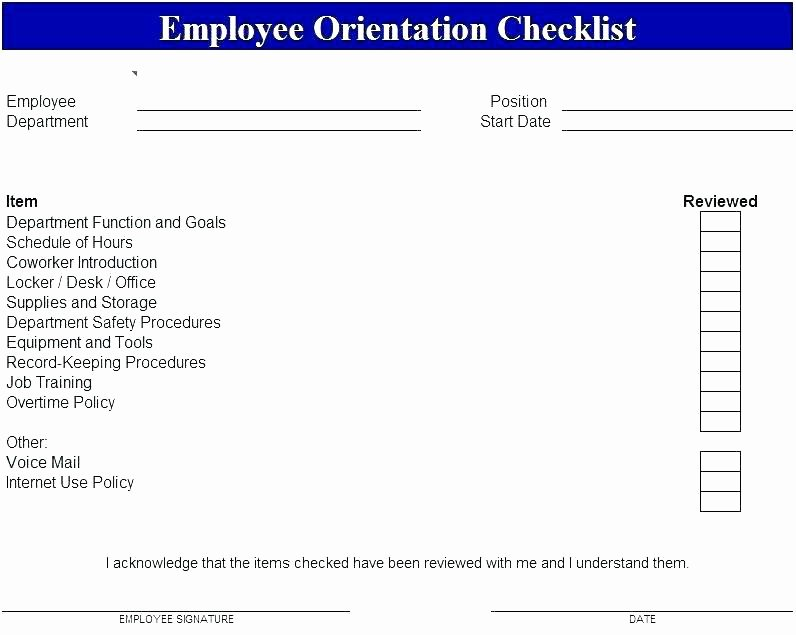 New Hire Checklist Template Word Fresh orientation Plan Template New Employee Checklist Word and