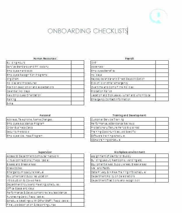 New Hire Checklist Template Word Luxury Contractor Induction Checklist Staff New Template Manual