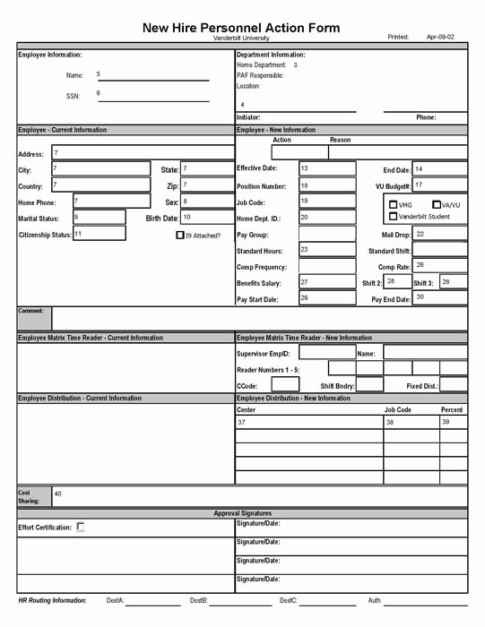 New Hire form Template Awesome New Hire Personnel Action form Payroll