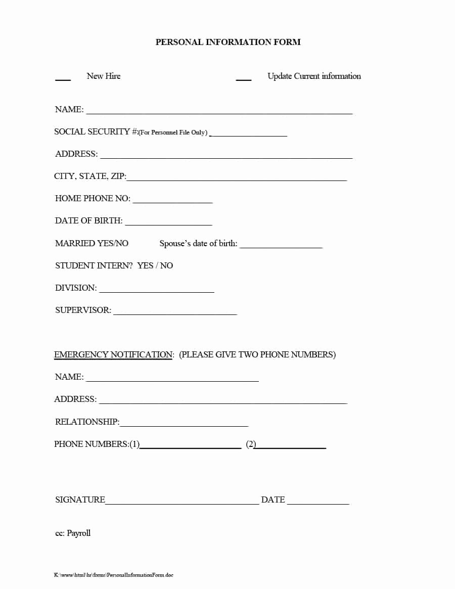 New Hire form Template Best Of 47 Printable Employee Information forms Personnel