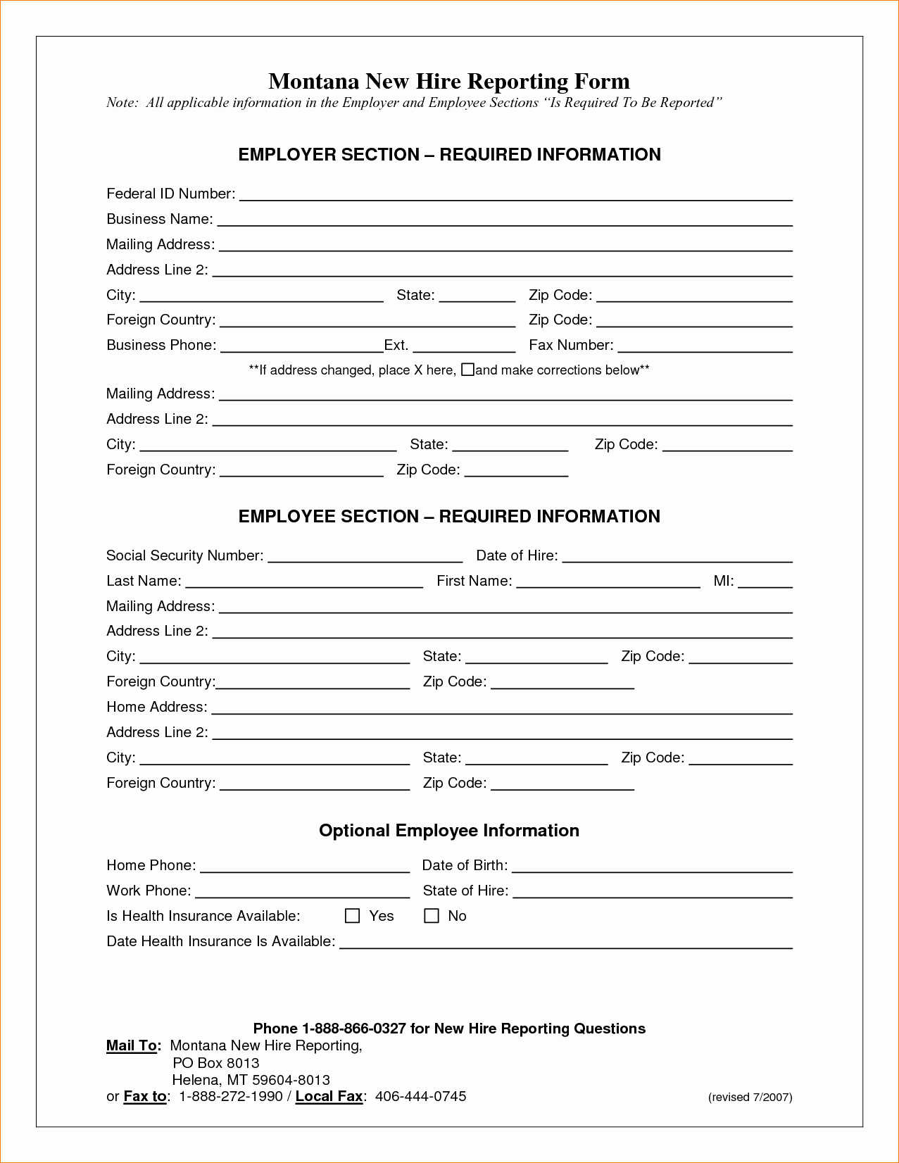 New Hire form Template Fresh 6 New Hire Application form Templateagenda Template Sample