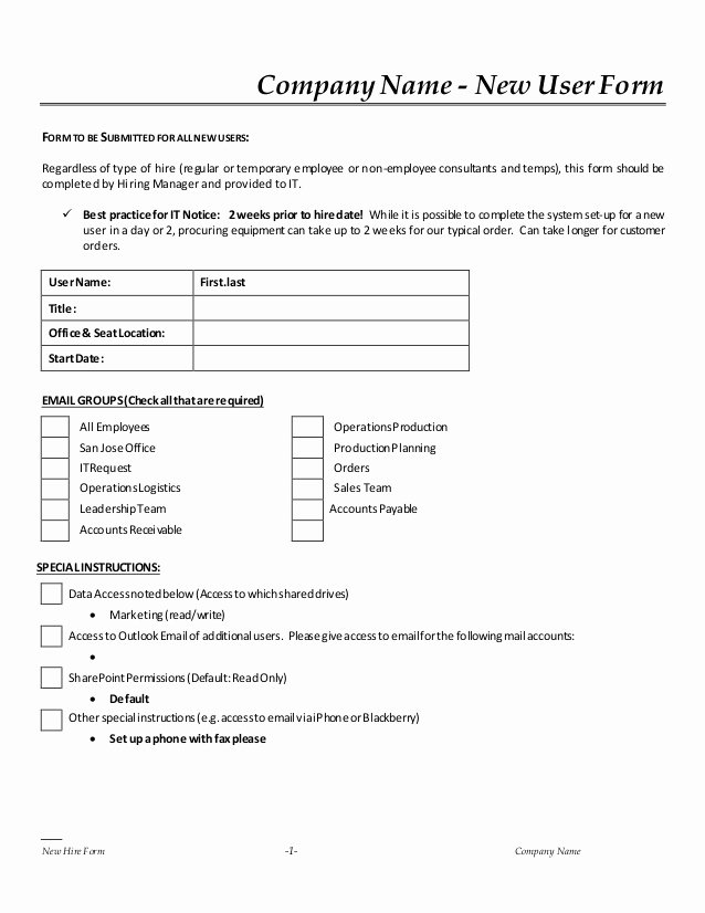 New Hire form Template Fresh New Hire It Request form