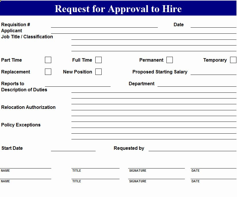 New Hire form Template Fresh Request to Hire form