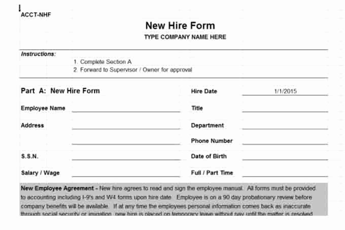 New Hire form Template Luxury Payroll Controls and Procedures Vitalics