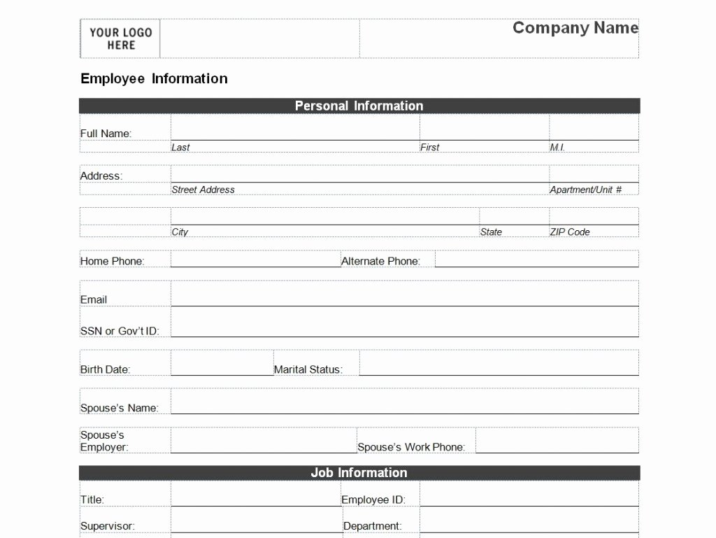 New Hire form Template New Employee Personal Information form Template