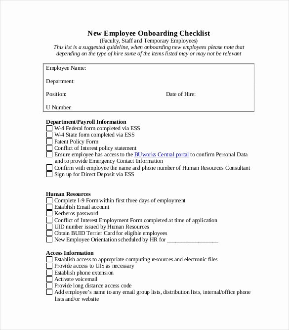 New Hire Paperwork Checklist Template Best Of Boarding Checklist Template – 15 Free Word Excel Pdf