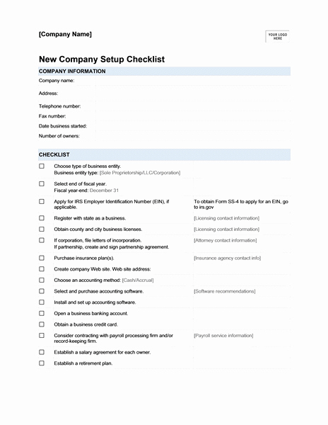 New Hire Paperwork Checklist Template Fresh New Pany Setup Checklist