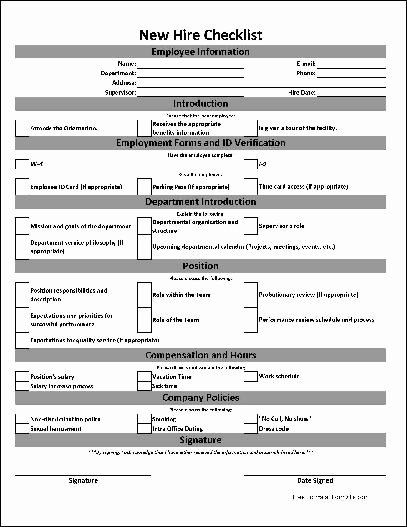 New Hire Paperwork Checklist Template Lovely Free Basic New Hire Checklist From formville