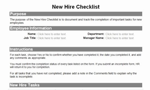 New Hire Paperwork Checklist Template Luxury Human Resource forms for the Entire Employee Lifecycle