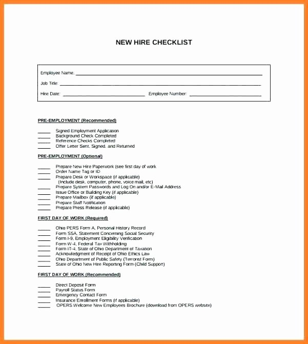 New Hire Press Release Template Beautiful Pre Employment Checklist Template – Probis