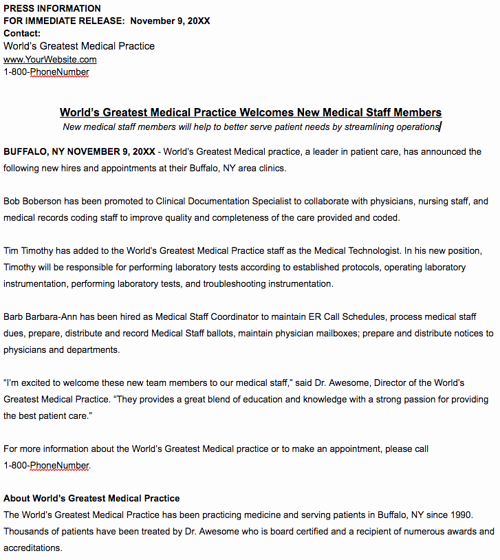 New Hire Press Release Template Lovely What is News Worthy for A Healthcare Practice Press Release