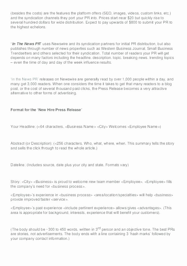New Hire Press Release Template New Business Press Release Template Examples Press Releases