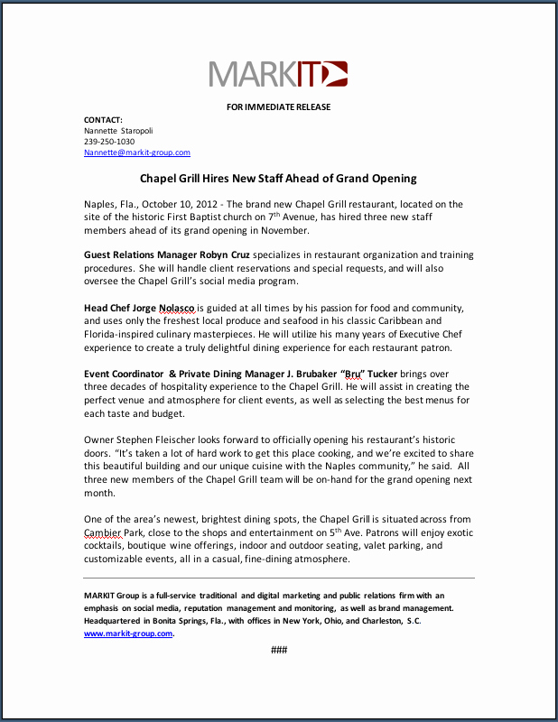 New Hire Press Release Template New Chapel Grill Reports New Hires Ahead Of Grand Opening