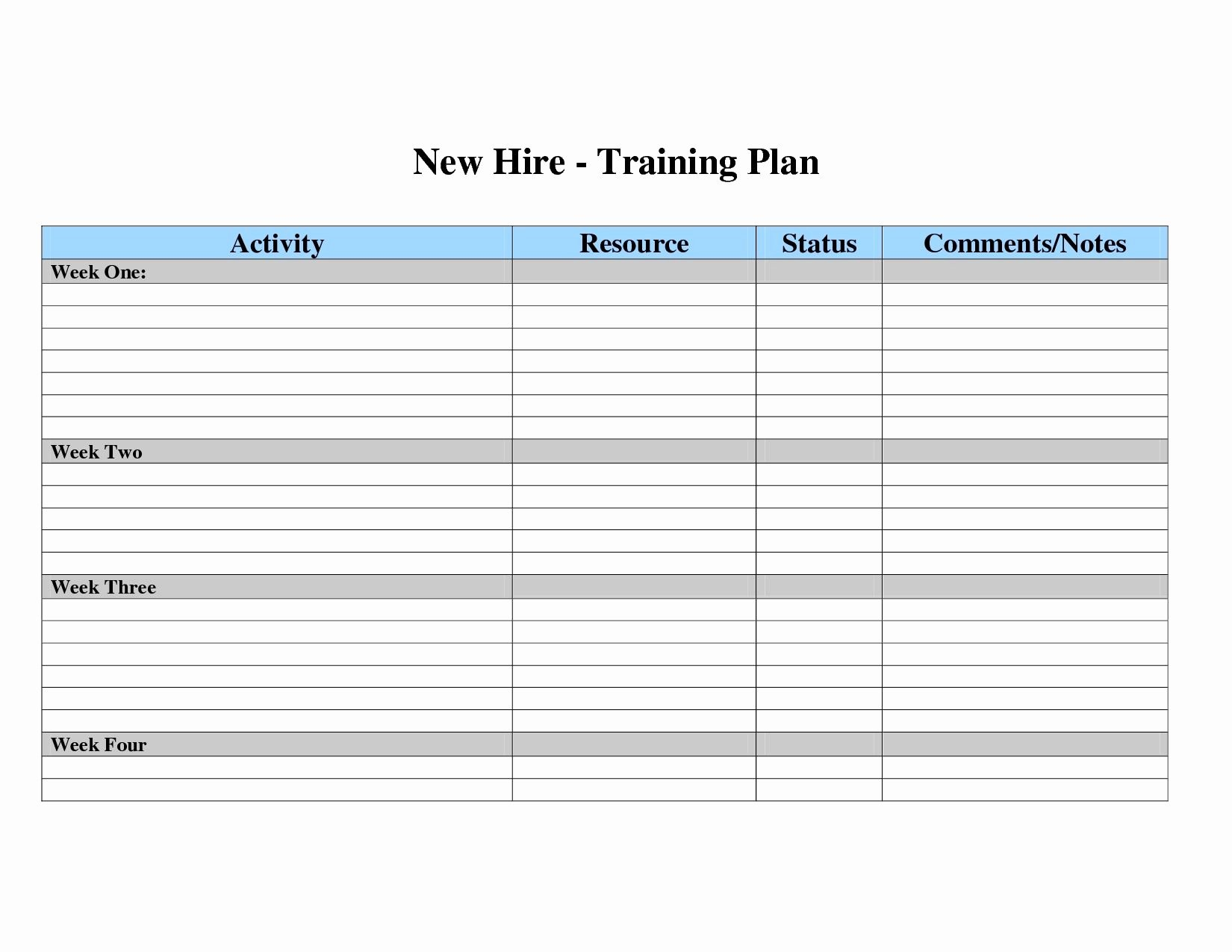 New Hire Training Plan Template Elegant Training Plan Template Excel