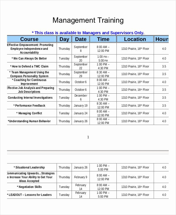 New Hire Training Plan Template Lovely Employee Training Schedule Template 14 Free Word Pdf