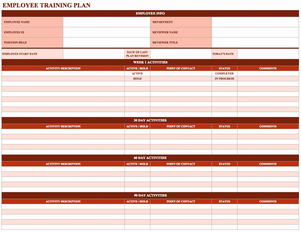 New Hire Training Plan Template New Employee Training Schedule Template In Ms Excel Excel
