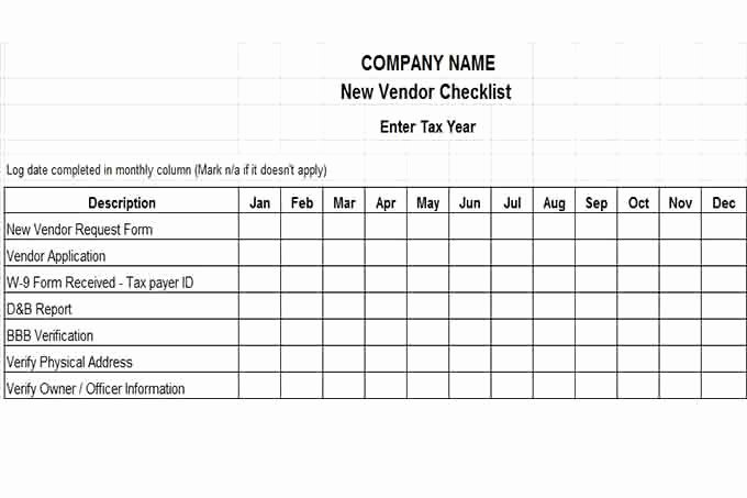 New Vendor form Template Excel Awesome Internal Control Procedures for Small Business Checklist