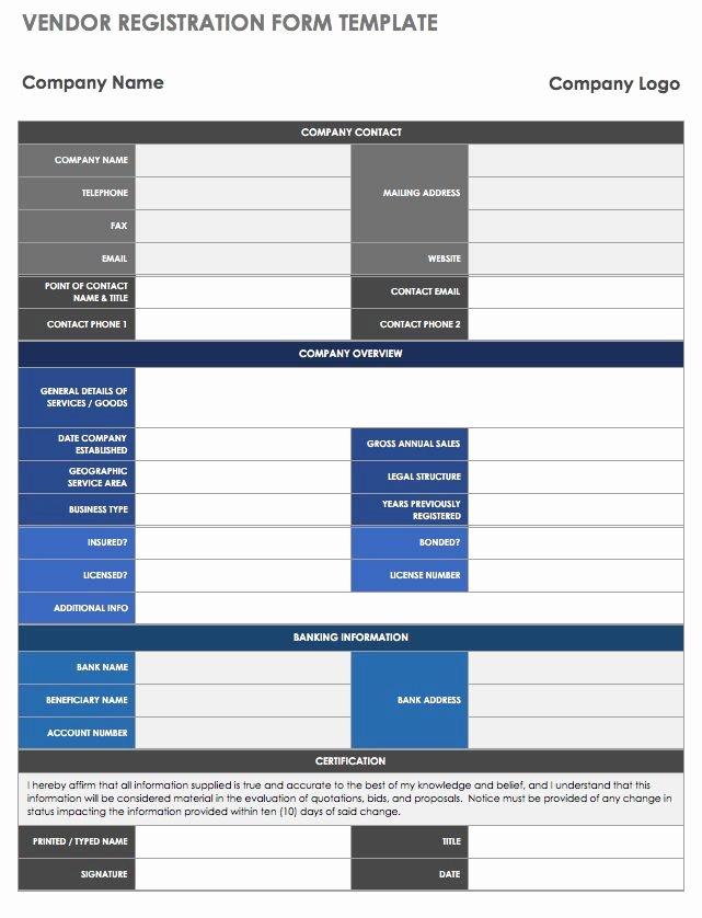New Vendor form Template Excel Elegant 13 Free Vendor Templates