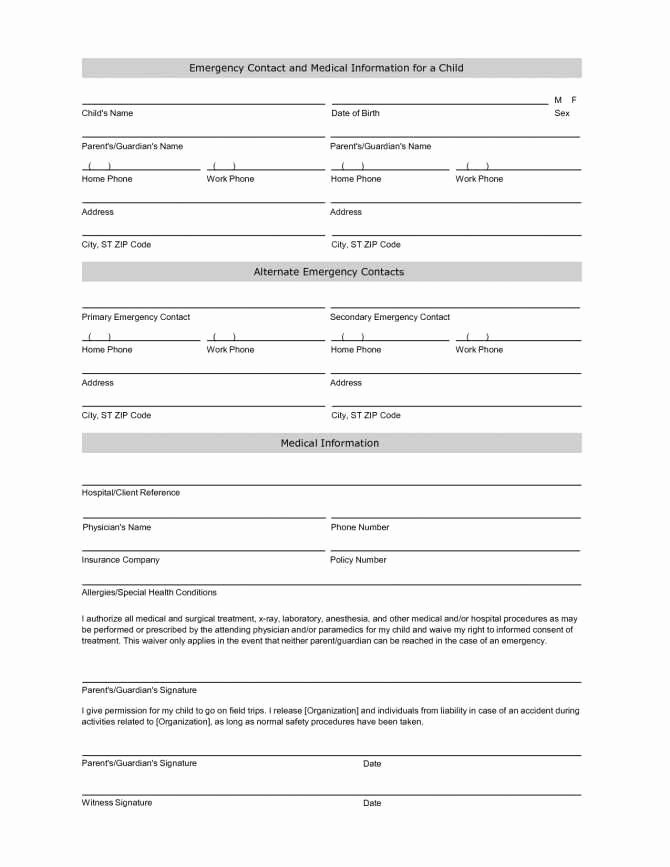 New Vendor form Template Excel Elegant 29 Luxury Emergency Contact form Template for Child