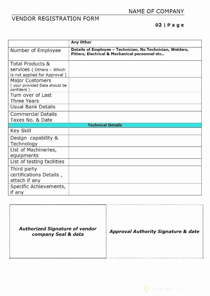 New Vendor form Template Excel New Supplier Approval form Template Vendor Registration Simple