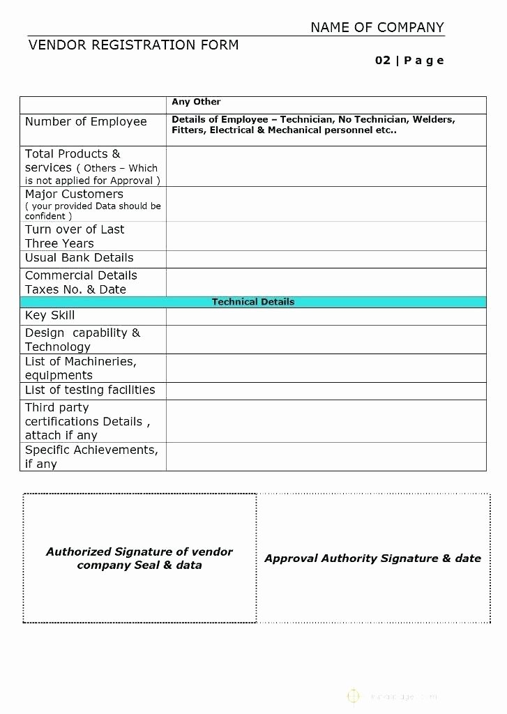 New Vendor form Template Excel New Vendor Registration form format Example New Supplier