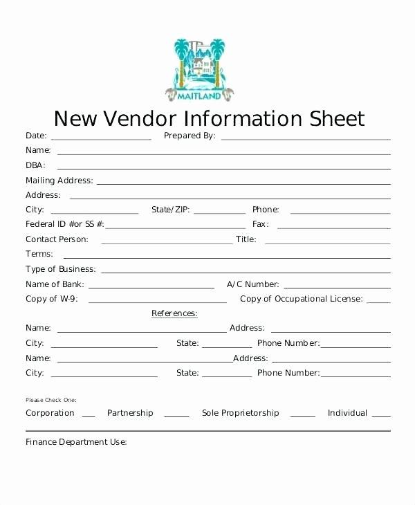 New Vendor Information form Template Best Of New Vendor Setup form Best Update Contact Information