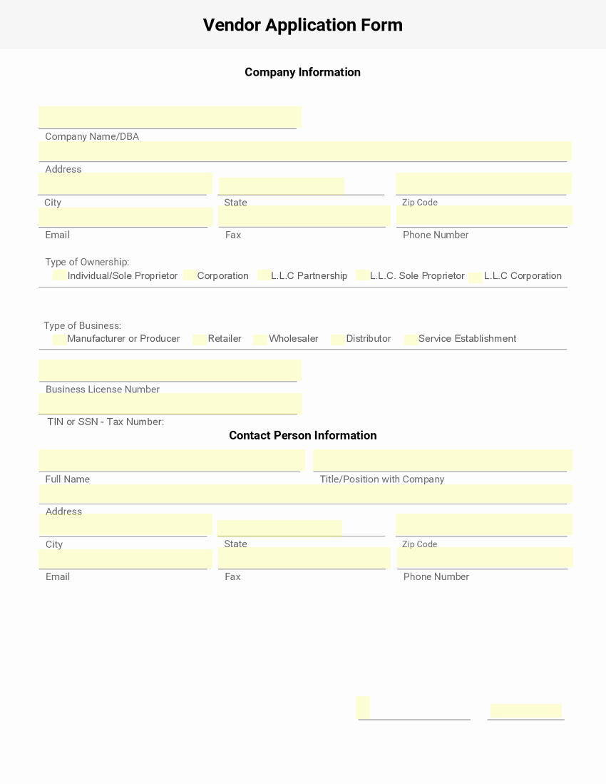 New Vendor Information form Template Inspirational Blank New Vendor forms