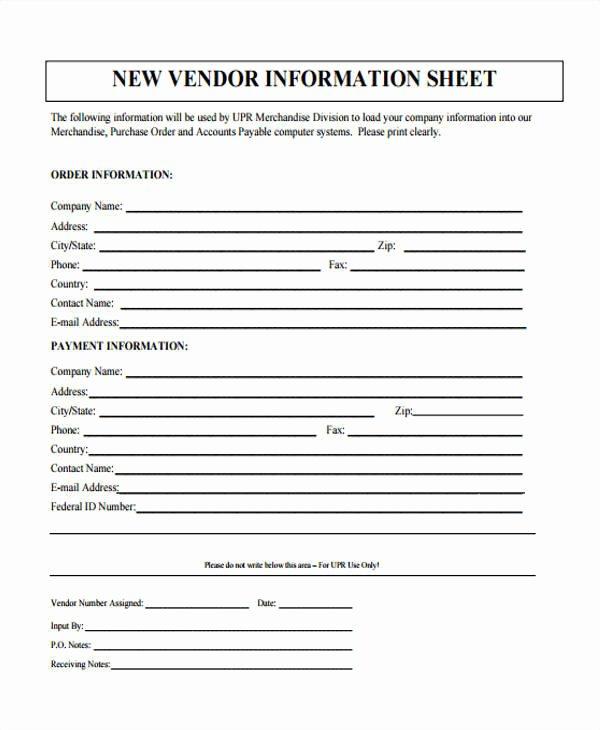 New Vendor Information form Template Lovely 46 Information Sheet Samples