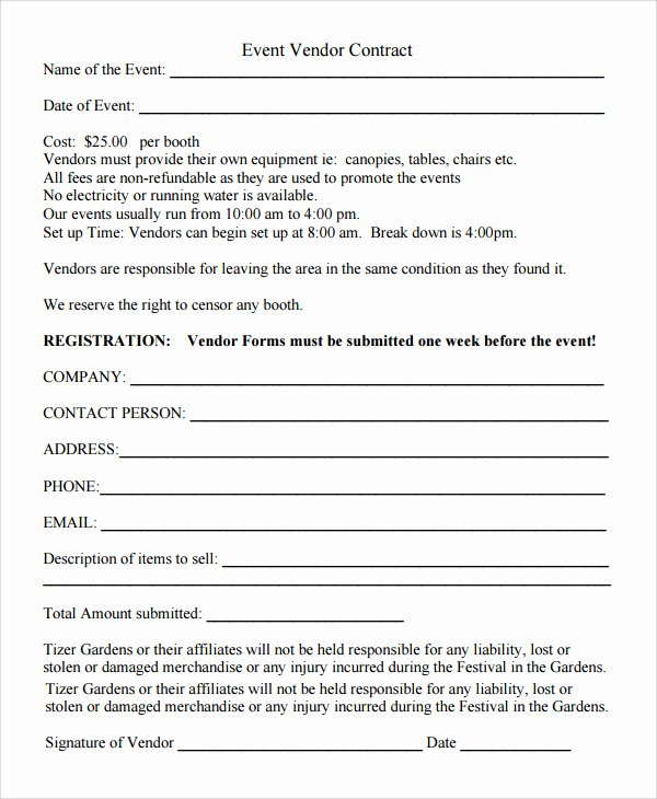 event vendor registration form template