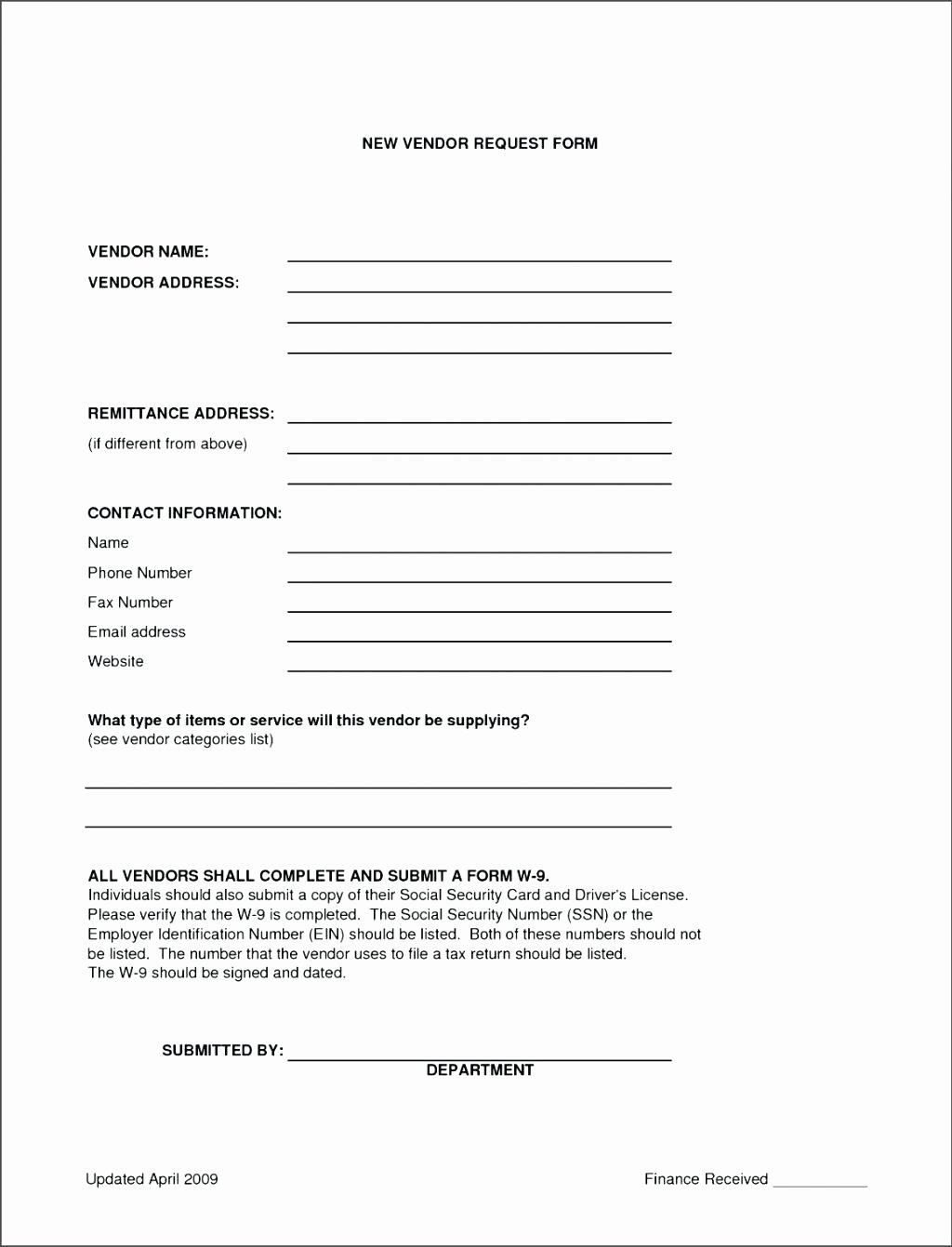 New Vendor Information form Template Luxury New Vendor Information form Template Hunt Hankk