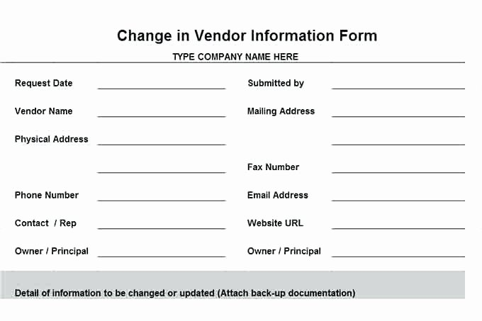 New Vendor Information form Template Luxury New Vendor Setup form Best Update Contact Information