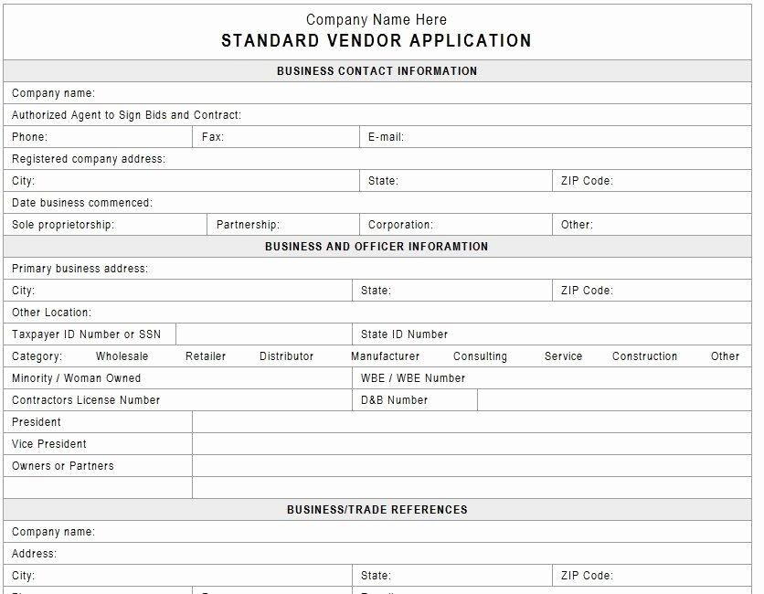 New Vendor Information form Template Unique Vendor Application Template Vendors