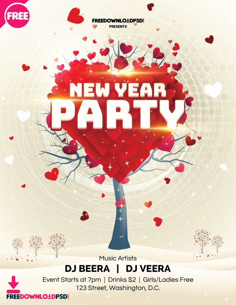 New Year Flyer Template Awesome [free] New Year Party Flyer Template