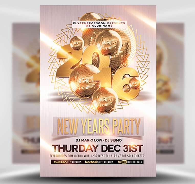 New Year Flyer Template Beautiful New Year Party Flyer Template 2 Flyerheroes