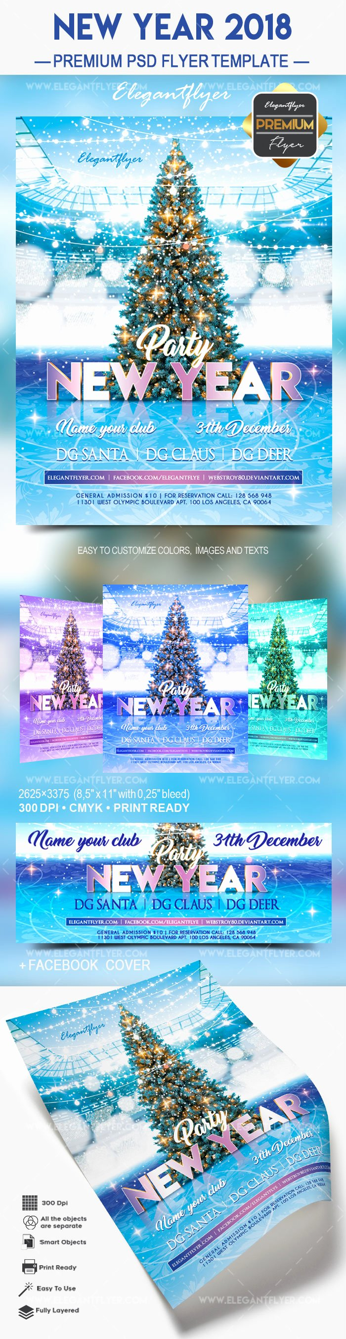 New Year Flyer Template Beautiful New Years Tree Psd Template – by Elegantflyer