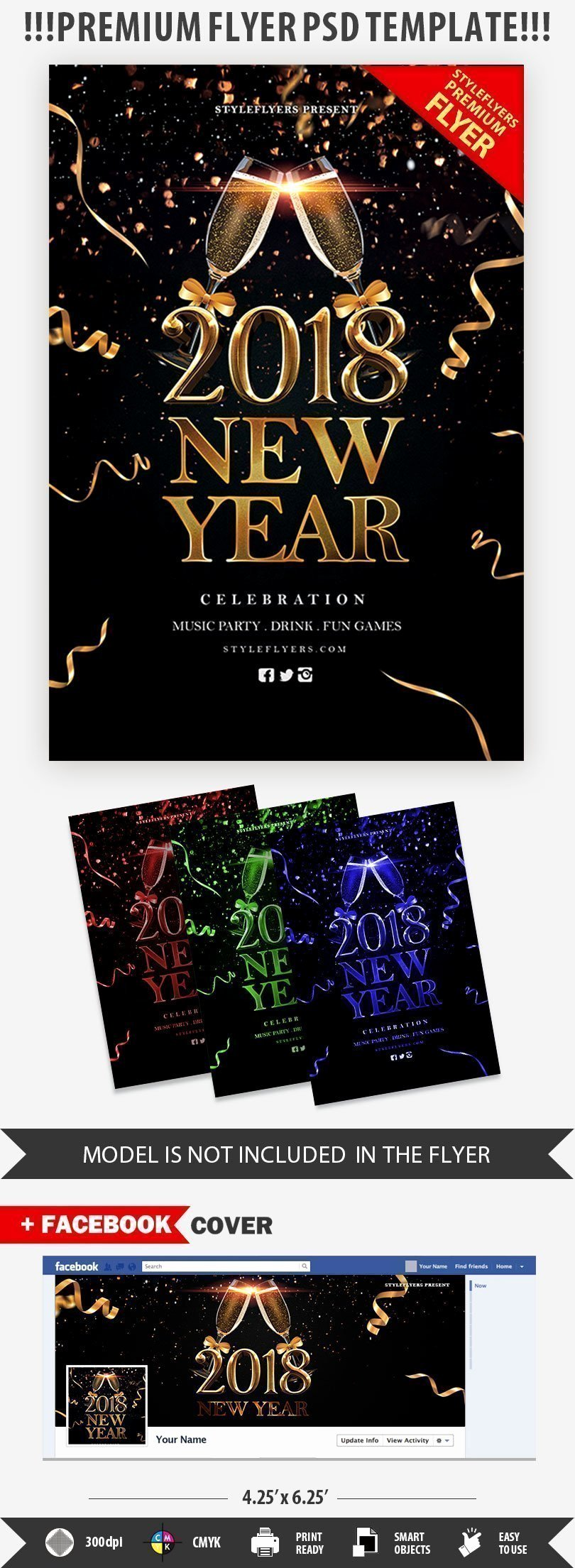New Year Flyer Template Fresh New Year 2018 Psd Flyer Template Styleflyers
