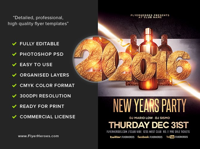 New Year Flyer Template Luxury New Year Party Flyer Template Flyerheroes