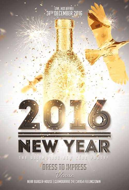 New Year Flyer Template New New Year Gold Vol 2 Flyer Template