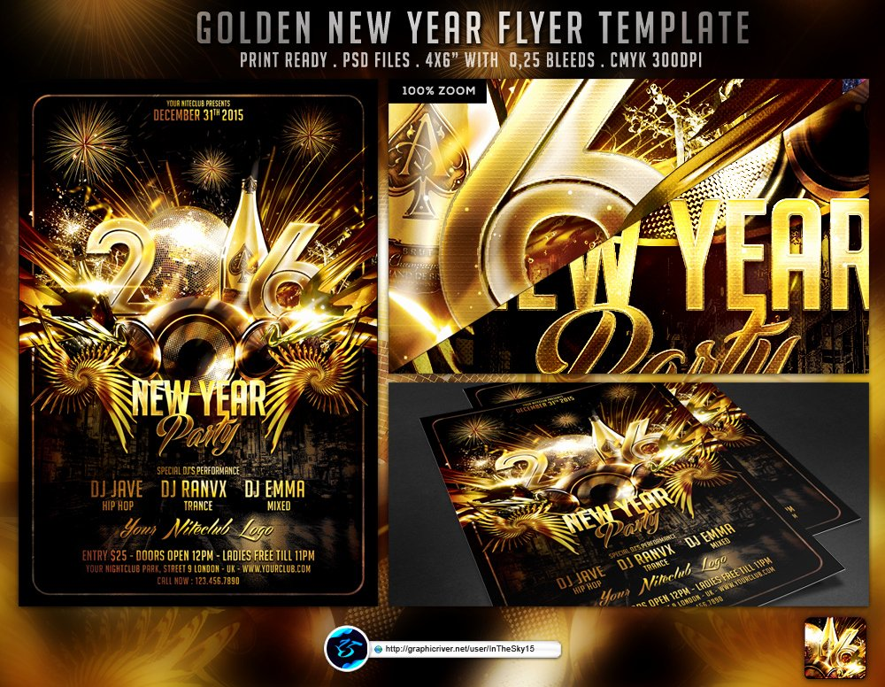 New Year Flyers Template Awesome Golden New Year Flyer Template by Ranvx54 On Deviantart
