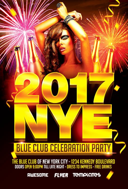 New Year Flyers Template Beautiful New Years Eve Party Celebration Flyer Template