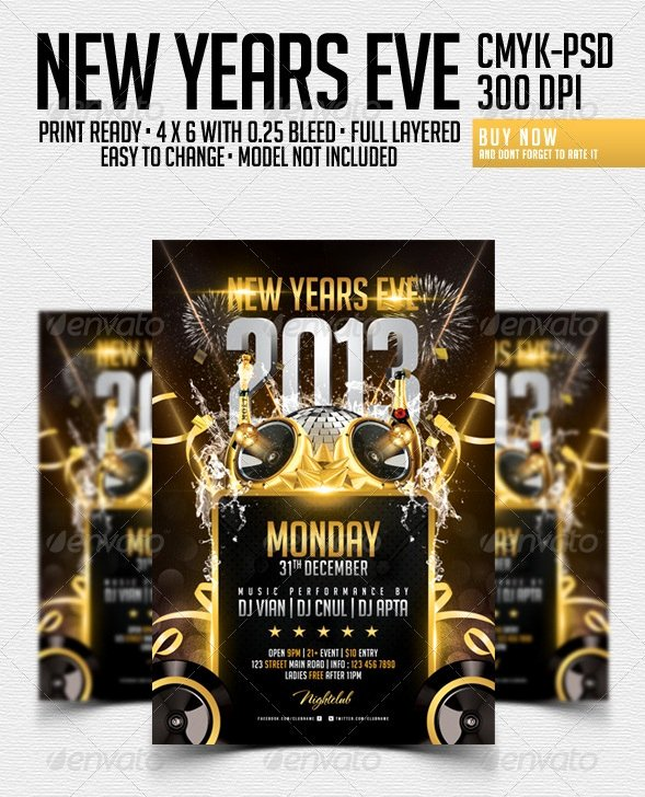 New Year Flyers Template Fresh 30 Best New Year Flyers Of 2013