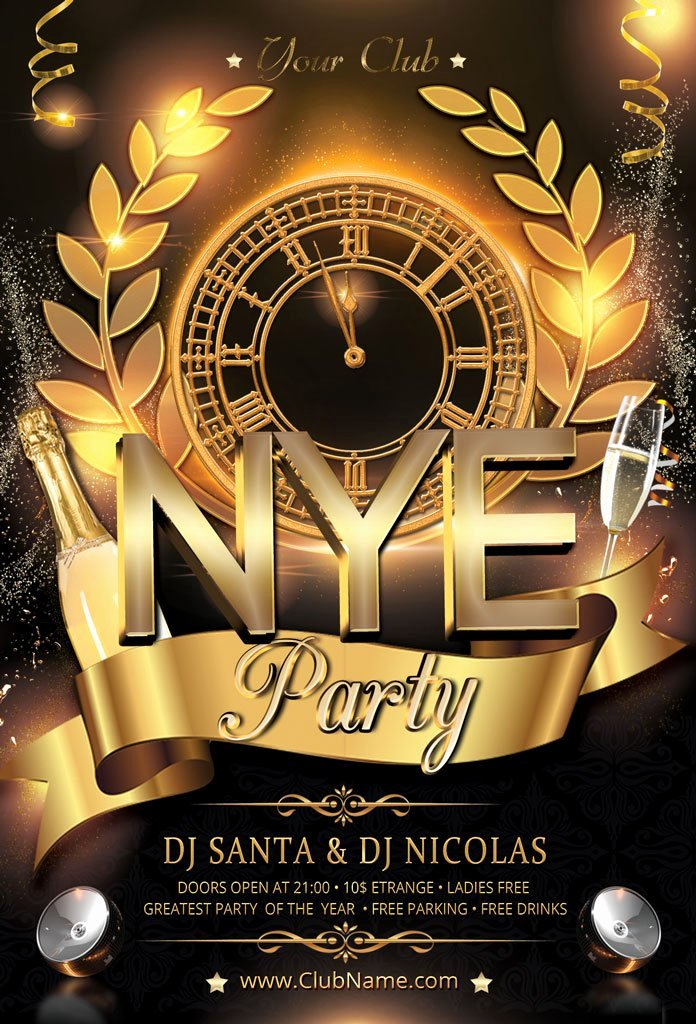 New Year Flyers Template Inspirational New Year Party Flyer Flyer Templates Creative Market