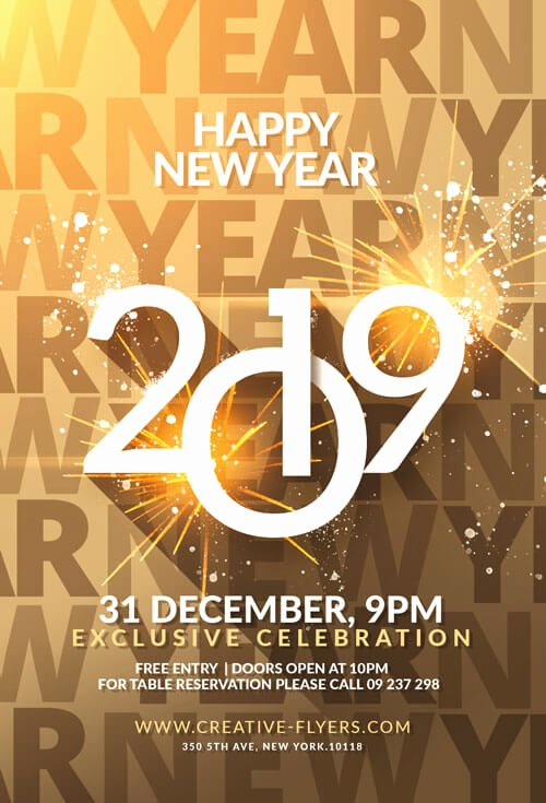 New Year Flyers Template Unique Happy New Year Flyer Template Psd Creative Flyers